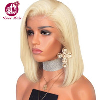 Virgin european blonde human hair full lace wig middle part Transparent lace blonde bob lace front wig