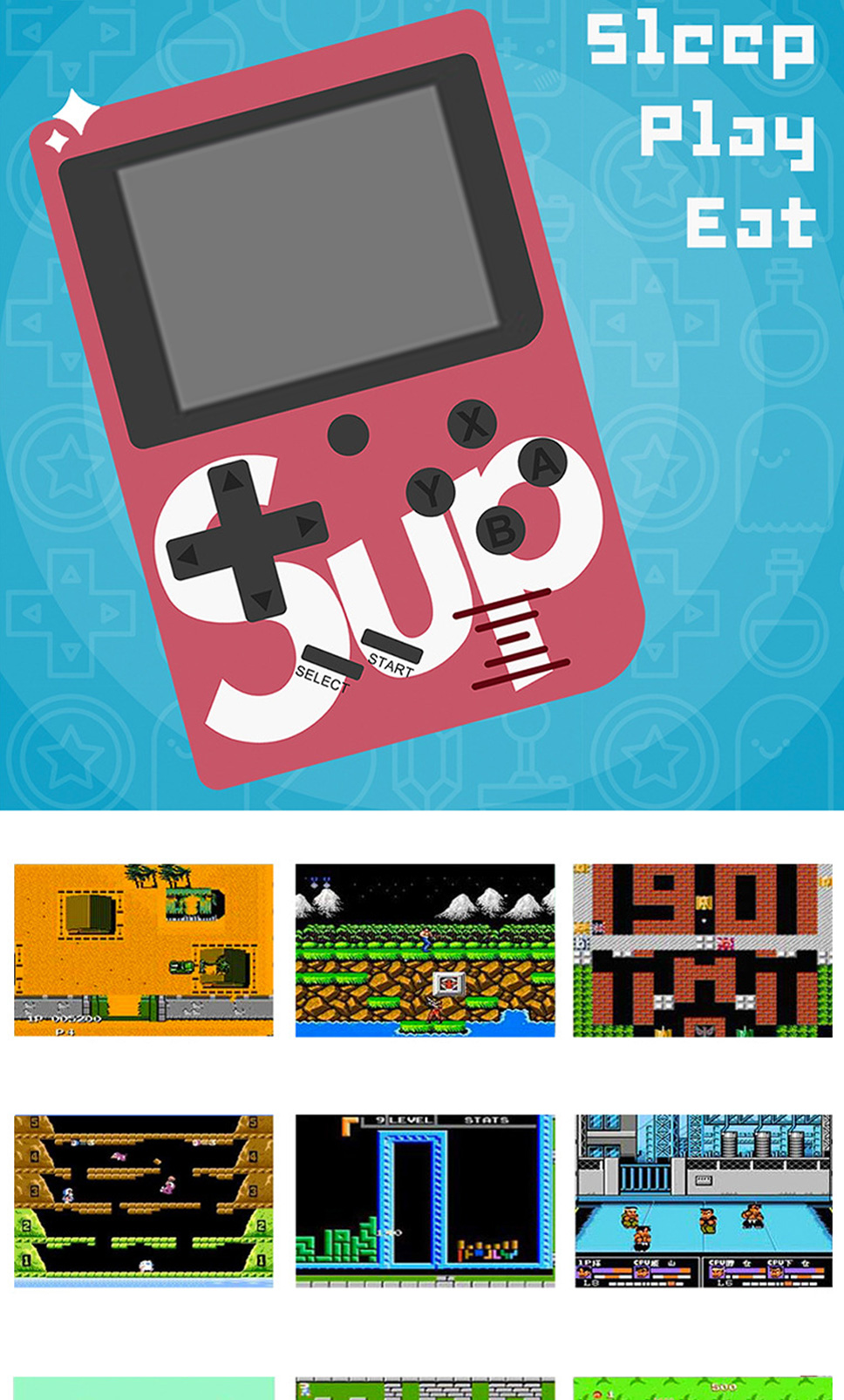 Sup X Game Box Retro Handheld Game Console Rechargeable Game Player  Machine, Built-in 129 Classic Games red