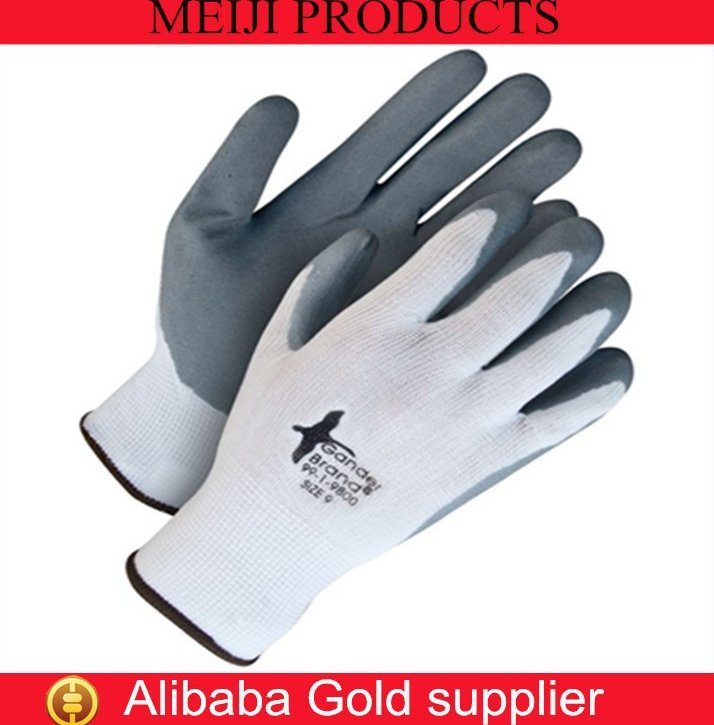 China suppliper good quality white grey nitrile coated cheap work gloves