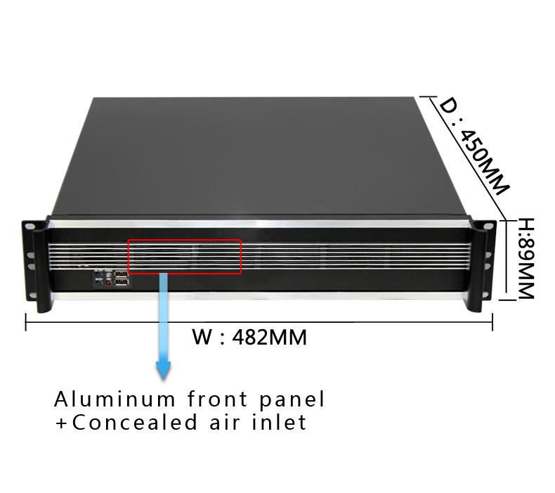 Shenzhen Manufacture  2u  server rack Aluminum case  with  fan in stock   OEM server product   usb fan industrial computer