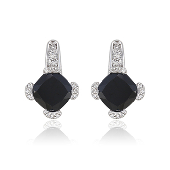 91649 Xuping Black Stone White Gold Earrings Samples 925 Silver Color Cz