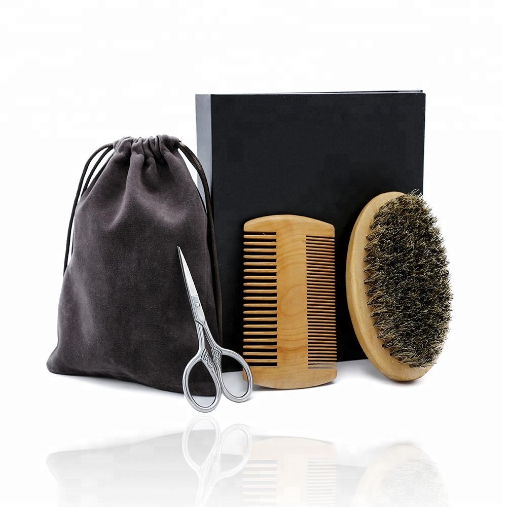 Stainless Steel Beard Grooming Scissors Mustache Brush And Comb Beard Gift Set For Black Men