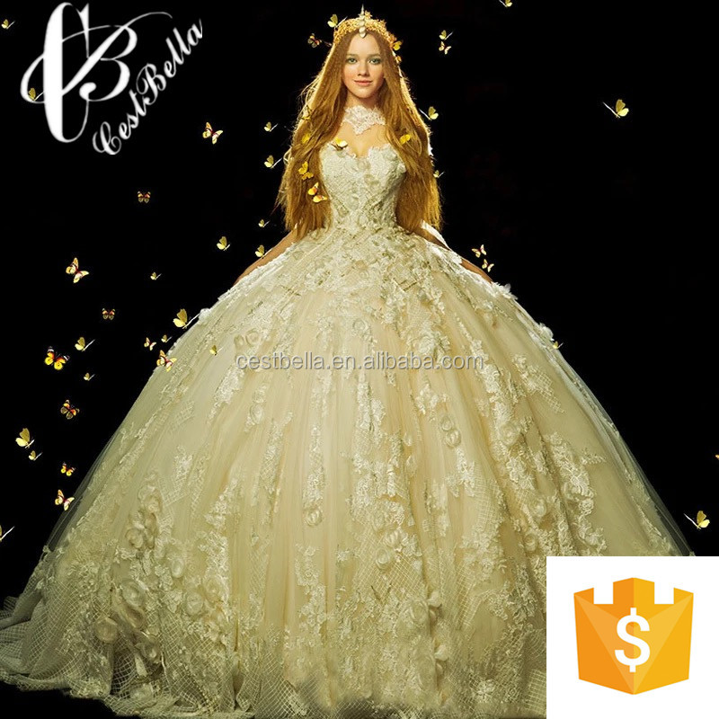 New Collection Alibaba China Wedding Dress Factory 2017 Cinderella Luxurious Ball Gown Bridal Long Tail