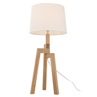 Modern Desk Room Lighting Fabric Shade Tripod Natural Wood Table Lamp