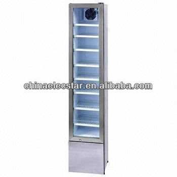 Slim Upright Glass Door Display Cooler With 105L Capacity, 92W Input Power,  Shelves Can