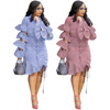 New Arrivals Fashion Women Casual Turn-down Collar Flared Sleeve Striped Patchwork Irregular Cape Hem T-Shirt Blouse Dress