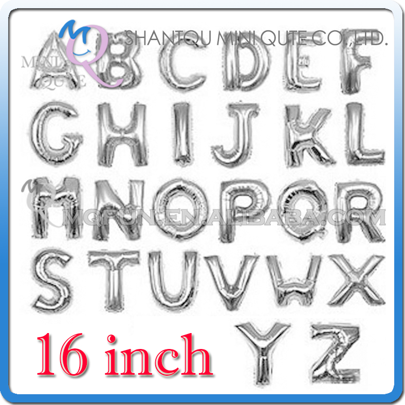 16 inch Silver Aluminum Foil party supplies Wedding decoration English ABC A-Z letters children birthday kids air Balloon