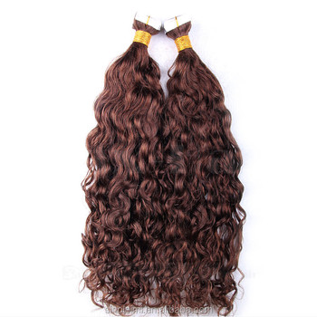 6A grade Indian remy Water wave tape hair extensions stocked on sale