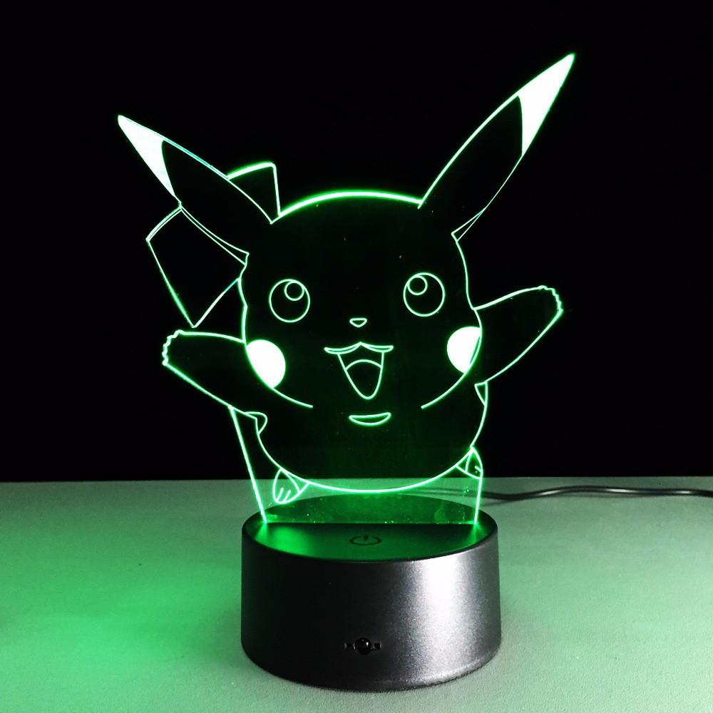 Pikachu Led Night Light 3d Illusion Lamp Pokemon Go Table