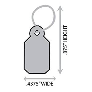 "Medium (0.4375"" X 0.875"") Silver Jewelry String Merchandise Tag (With Silver String). Case of 1,000 Tags."