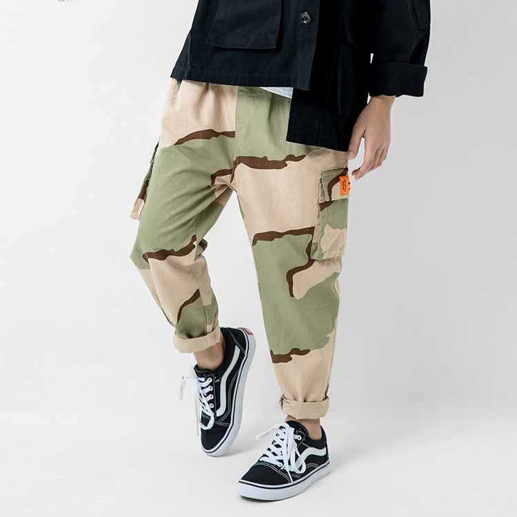 New style children clothing boys cool urban yellow camo casual pants