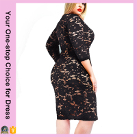 2016 Zhejiang Yiwu Factory Summer Plus Size Front Zip Deep V Sexy Black Lace Dress