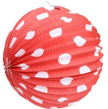european style polka dot black hanging red accordion paper lantern