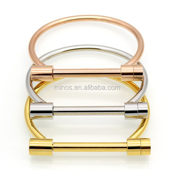 Brand Punk Love Bangle 18k Gold Plated Mens Horseshoe Bracelet Jewelry Charm Cuff Bracelets