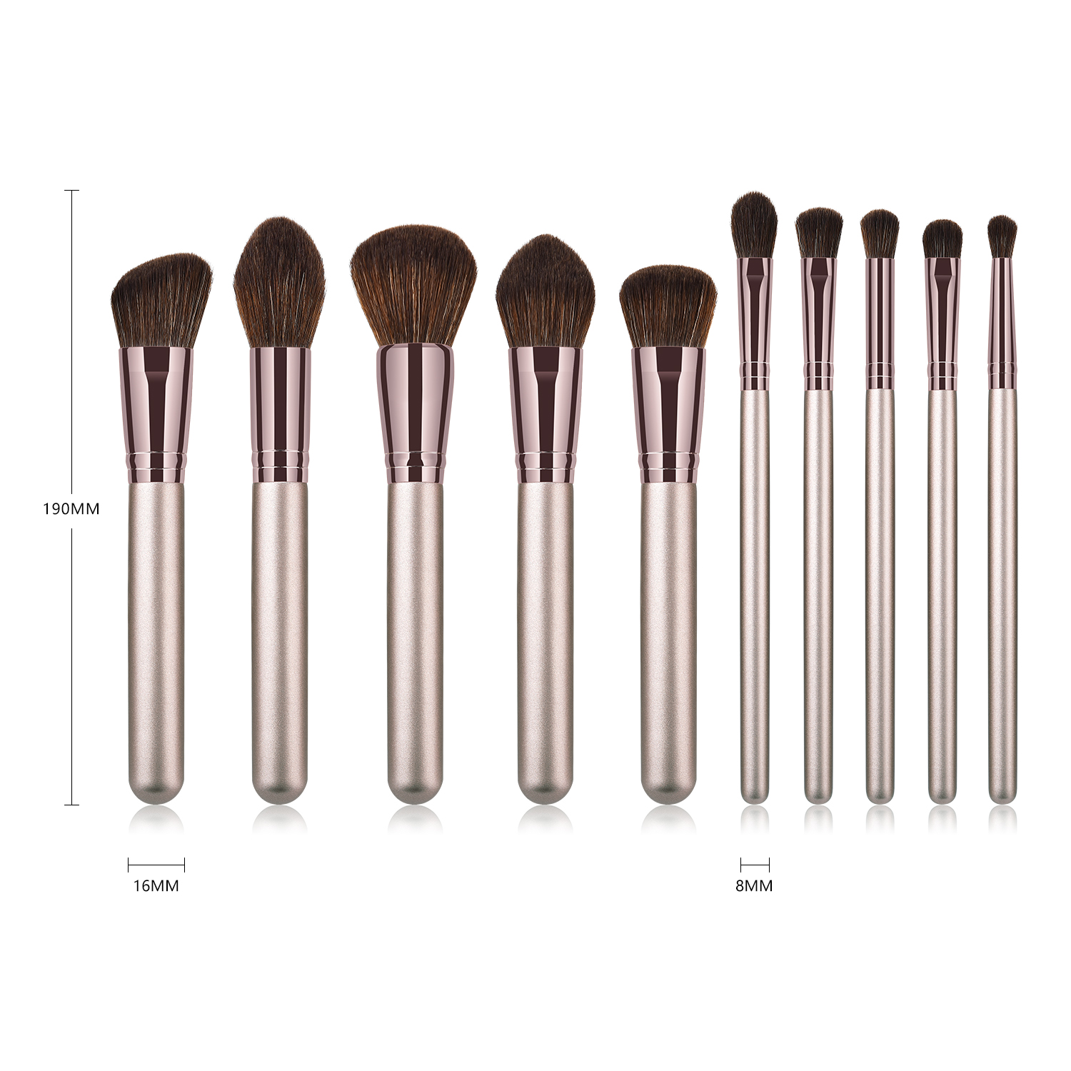 Cosmetics brush wholesale 10pcs gold aluminum luxury best quality professional makeup brush