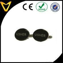Wedding Accessories Custom High Quality Black Oval Usher Cufflinks