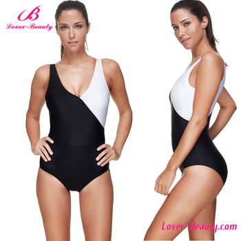 2017 New Style Black And White One Piece Modest Plus Size ...