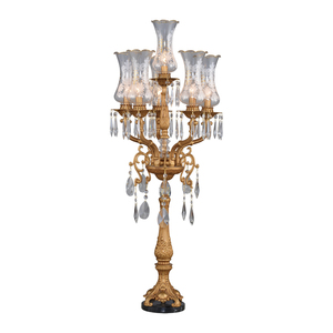 French european style 6 arms aluminium crystal chandelier table lamp with glass shade