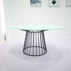 Black wire steel frame dining table / glass top table b
