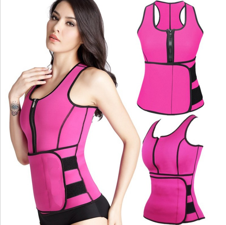 6-colour XS-5XL Womens Adjustable Neoprene Sauna Waist Trimmer Tops Sport Sweat Vest With Zipper