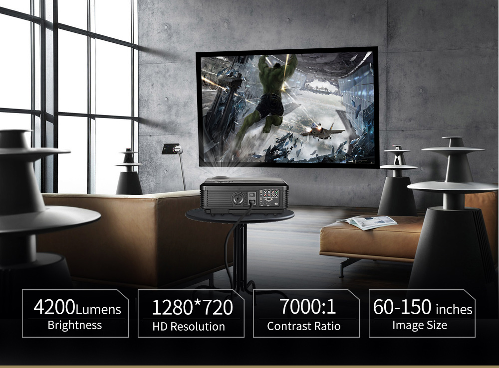 CAIWEI A6 4200 Lumens android 6.0 bluetooth wifi led full hd 1080 p tv chiếu