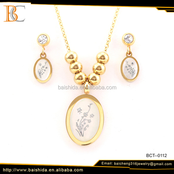 pretty round shaped flower shell stainless steel jewelry set with necklaces and earrings