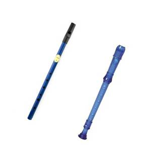 My First Recorder / Penny Whistle Pack -BPA FREE Blue Translucent Recorder w/Blue Tin Penny Whistle