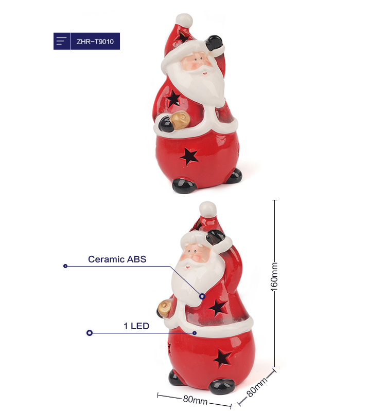 2019 Ceramic Santa Xmas LED Decoration Christmas Santa Claus Night Light