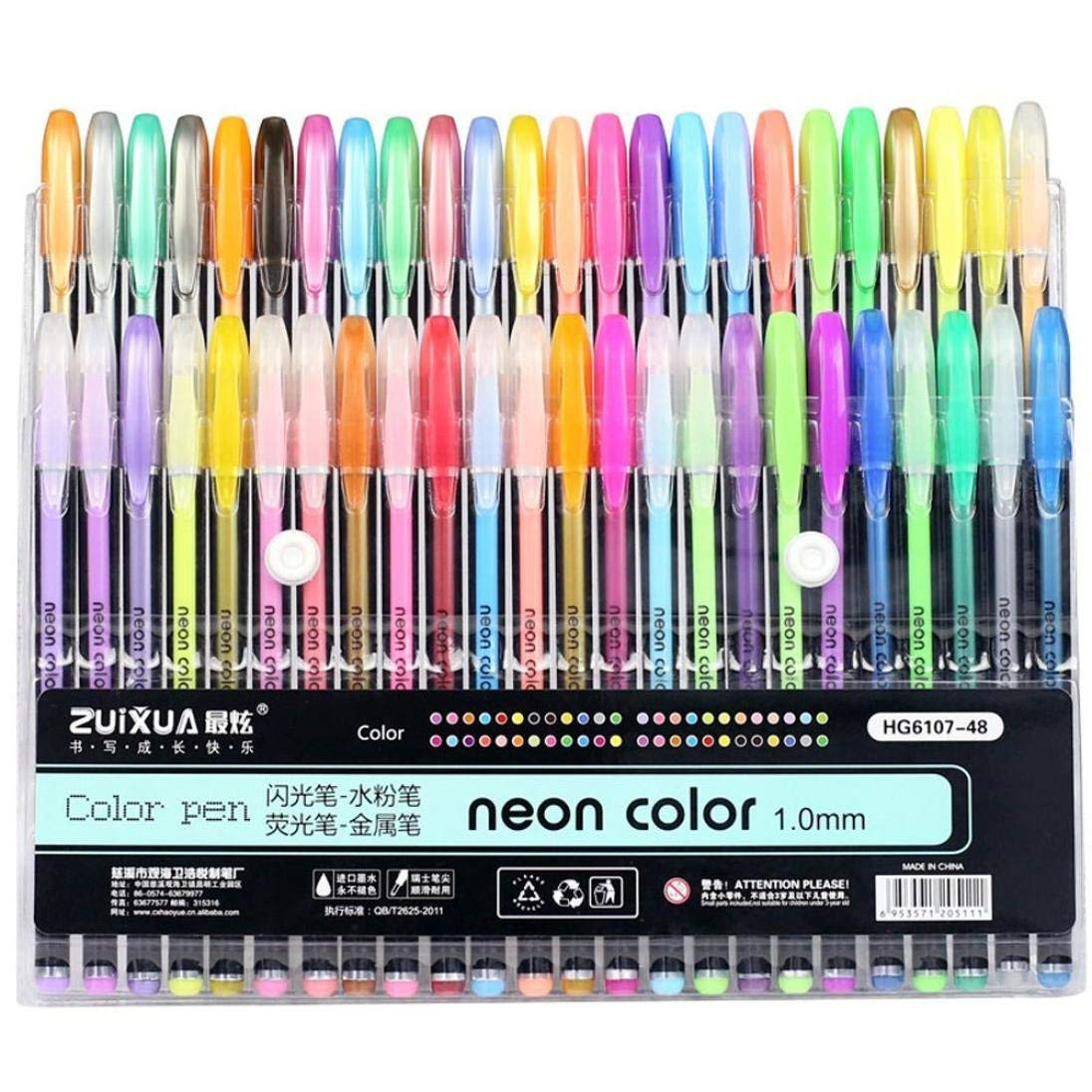 Rumas Watercolor Gel Pens Set - 48Pcs, Bullet Highlighter Pens for Sketching Adult Coloring Book Underlinig, Assorted Colored Office School Stationery Supplies Marker Pens for Kids (Multicolor)