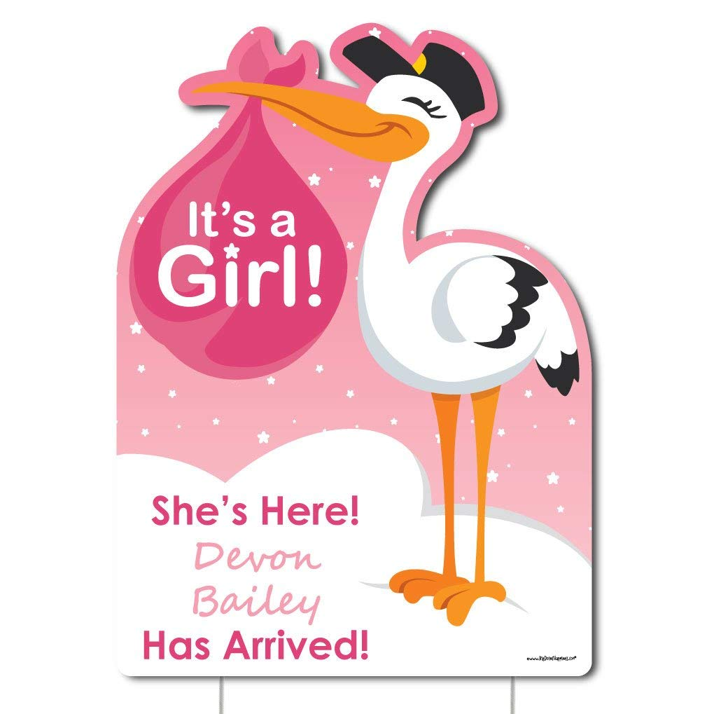 Big Dot of Happiness Custom Girl Special Delivery - Baby Arrival Sign - Pink It's A Girl Stork Personalized Baby Announcement & Welcome Yard Sign