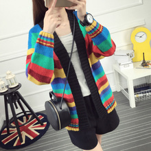 2016 sweater female loose medium long cardigan outerwear all match stripe autumn and font b winter
