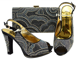 New Arrival Italian Style Rhinestone Woman Black Shoes And Bag Set African  High Heels Shoes And e266099e69cc