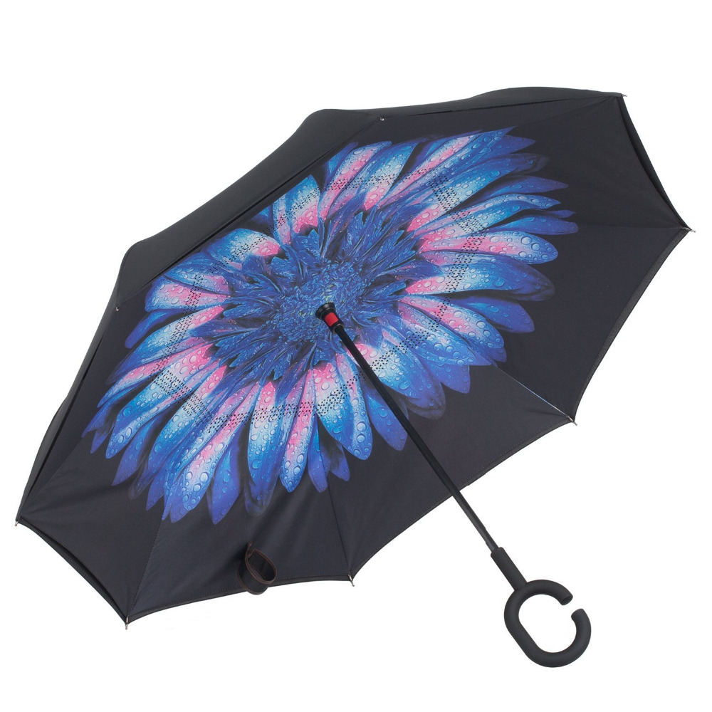 Folding portable windproof yellow blue color double layers inverted reverse umbrella