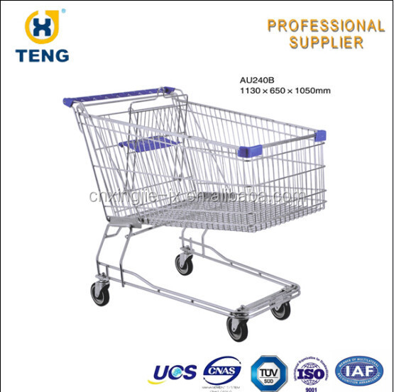 AU240B Australia Style Metal recycle walking unfolding steel Shopping Trolley for stores and supermarkets