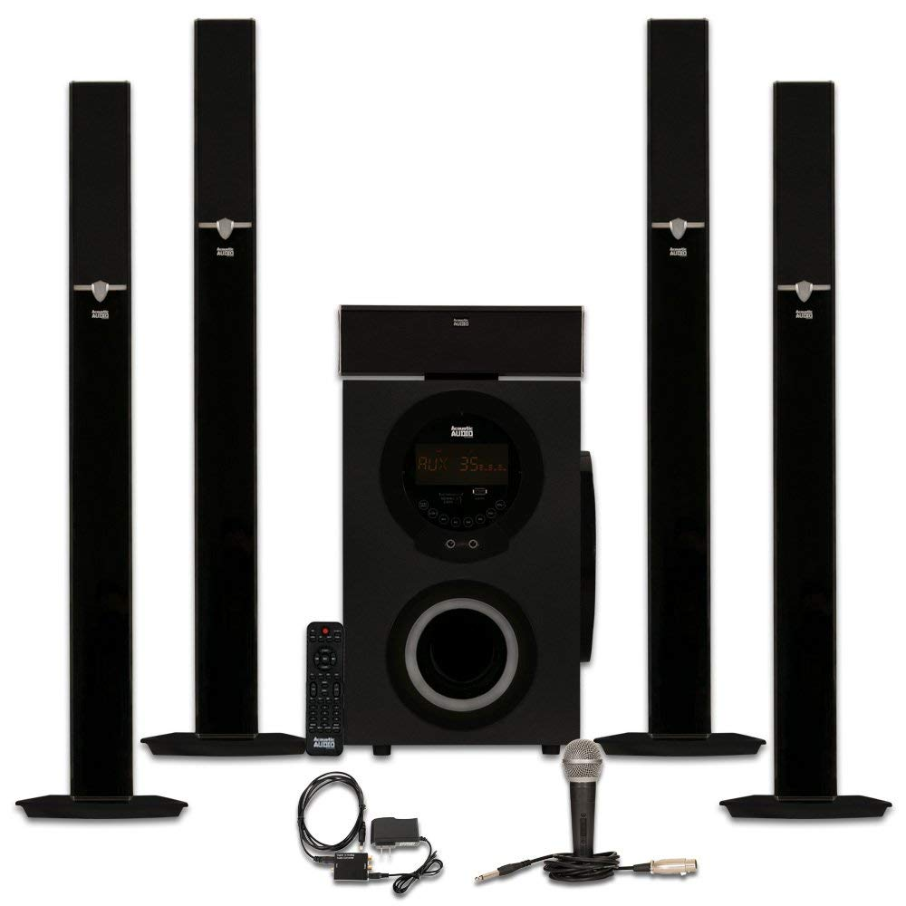 Acoustic Audio AAT3003 Tower 5.1 Home Theater Bluetooth Speaker System with Optical Input and Mic