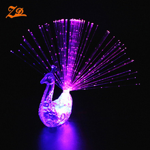 Led Lighted Up Peacock Finger Ring,Led Finger Light, Fiber Optic Light Party Decoration
