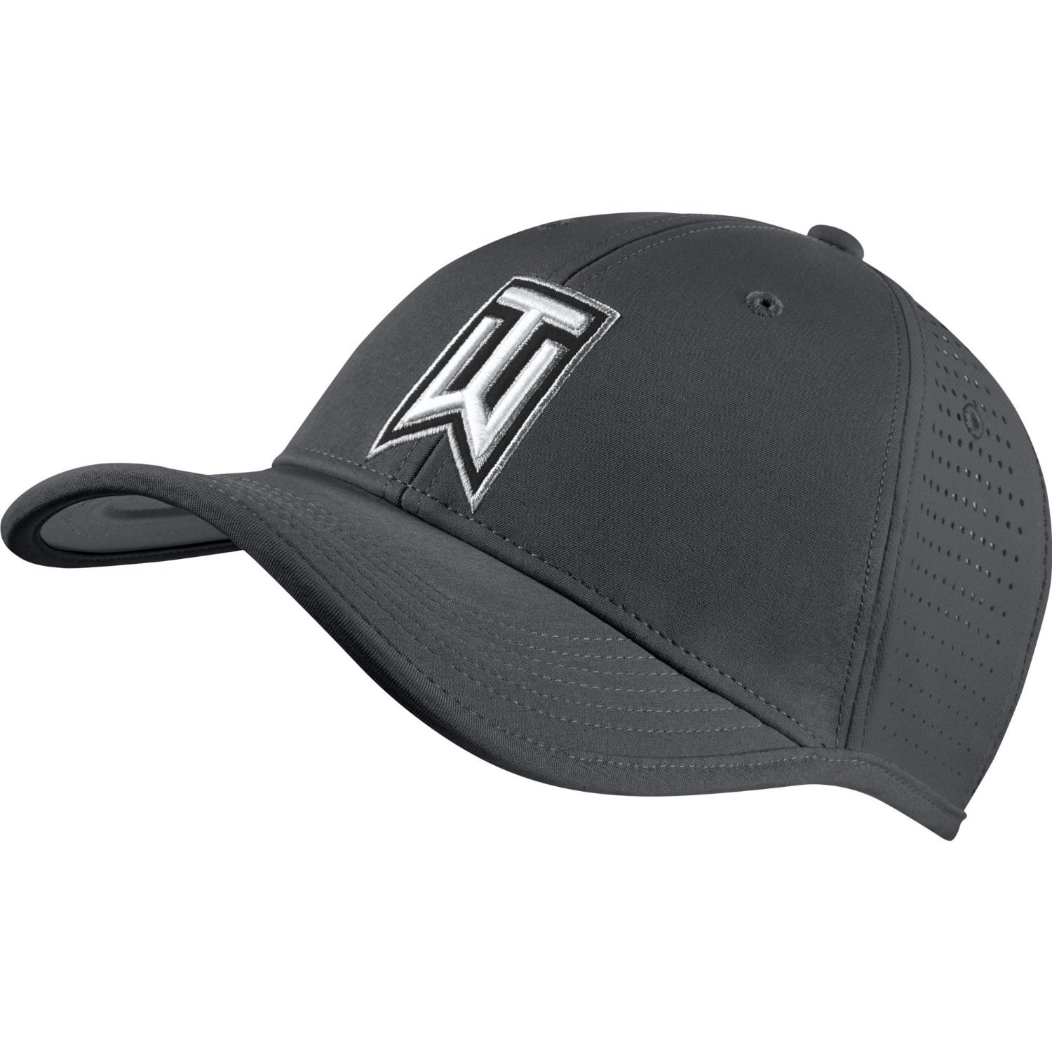 3cce07e13f6a3 NEW Nike Tiger Woods Ultralight Tour Perforated Grey Black Adjustable Hat  Cap