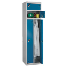 Engineering workers and staffs shared metal storage locker with interior double coat hooks design