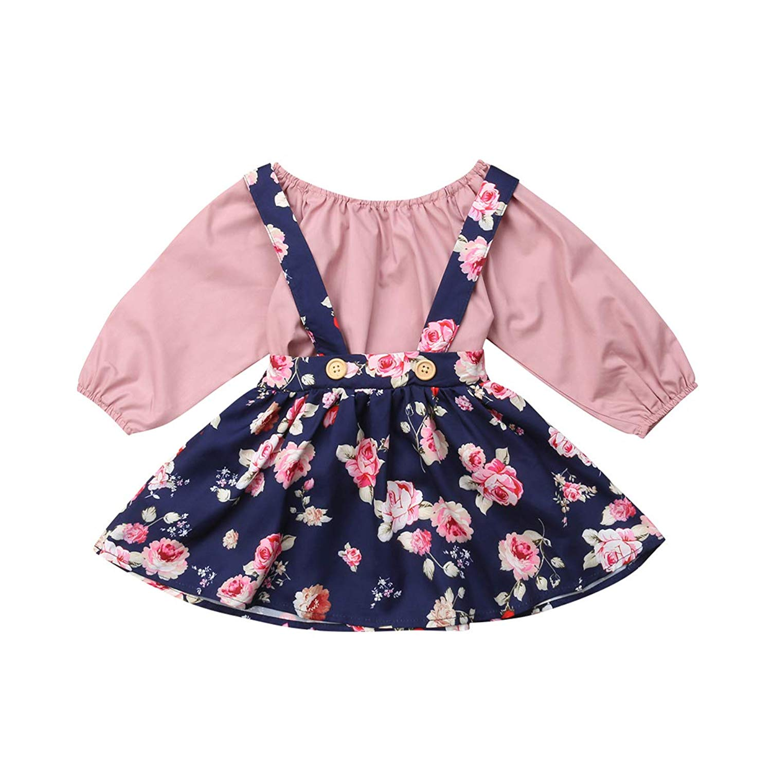 FIRERO Baby Clothes Toddler Baby Girls Kid Flowers Ruffles Cartoon Printed Dress Outfits Clothes