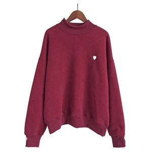 Autumn winter plus longer full sleeve turtleneck sweatshirts heart embroidery female casual hoodies