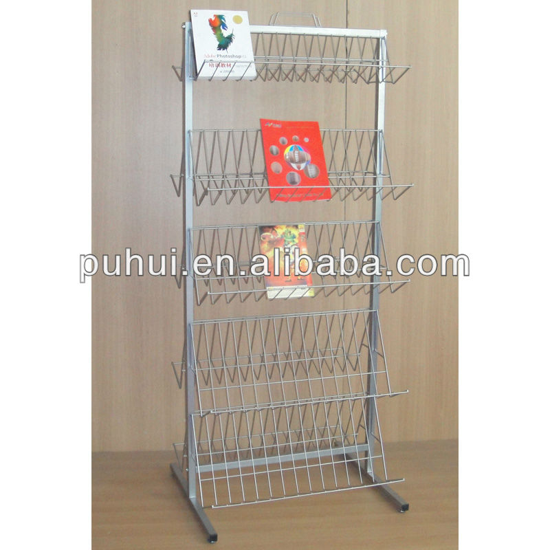book shop retail fixture  floor stand adjustable slanted iron rod shelving magazines exhibition  wire shelf display rack