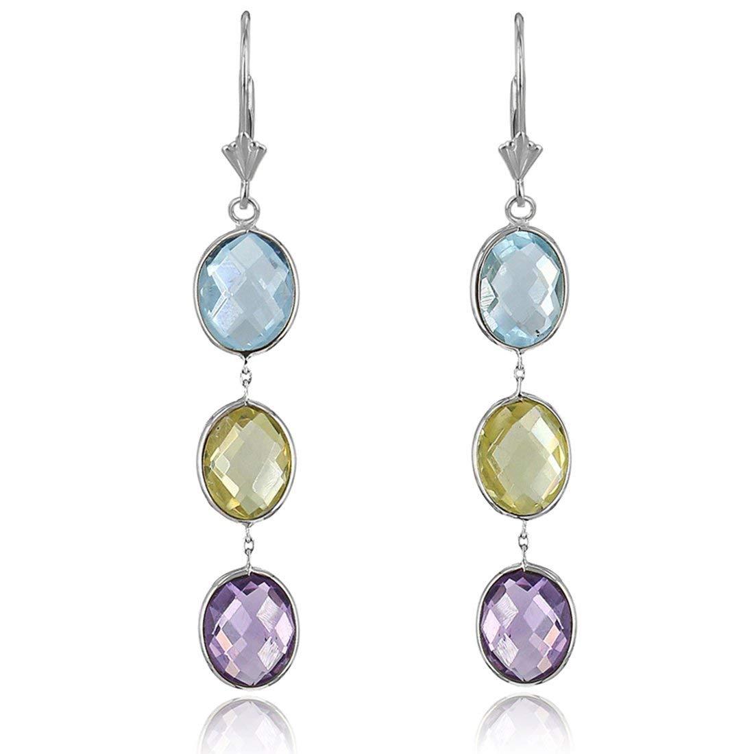 14k White Gold Gemstone Earrings with Oval Amethyst, Blue Topaz And Lemon Quartz Stations