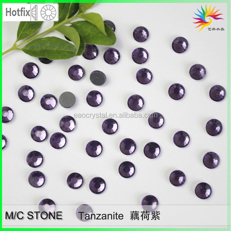 China factory outlet glass flat back hot stone Tanzanite dmc stone hot fix rhines