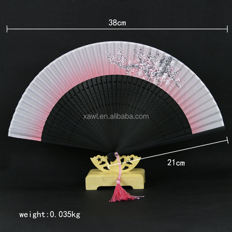 Chinese Personalized Black Bamboo Souvenir Folding Hand Fan GYS913