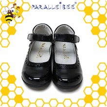 High end non slip healthy black student school shoes girls leather shoe