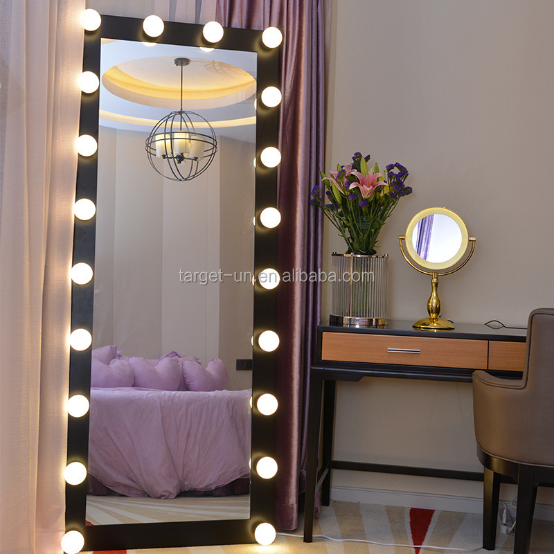 Replace Bulbs Full Length Floor Mirror Bedroom Dressing Standing Mirror with Light Bulbs