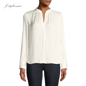 White Plain Cotton Long Sleeve Women Work Henley Blouses