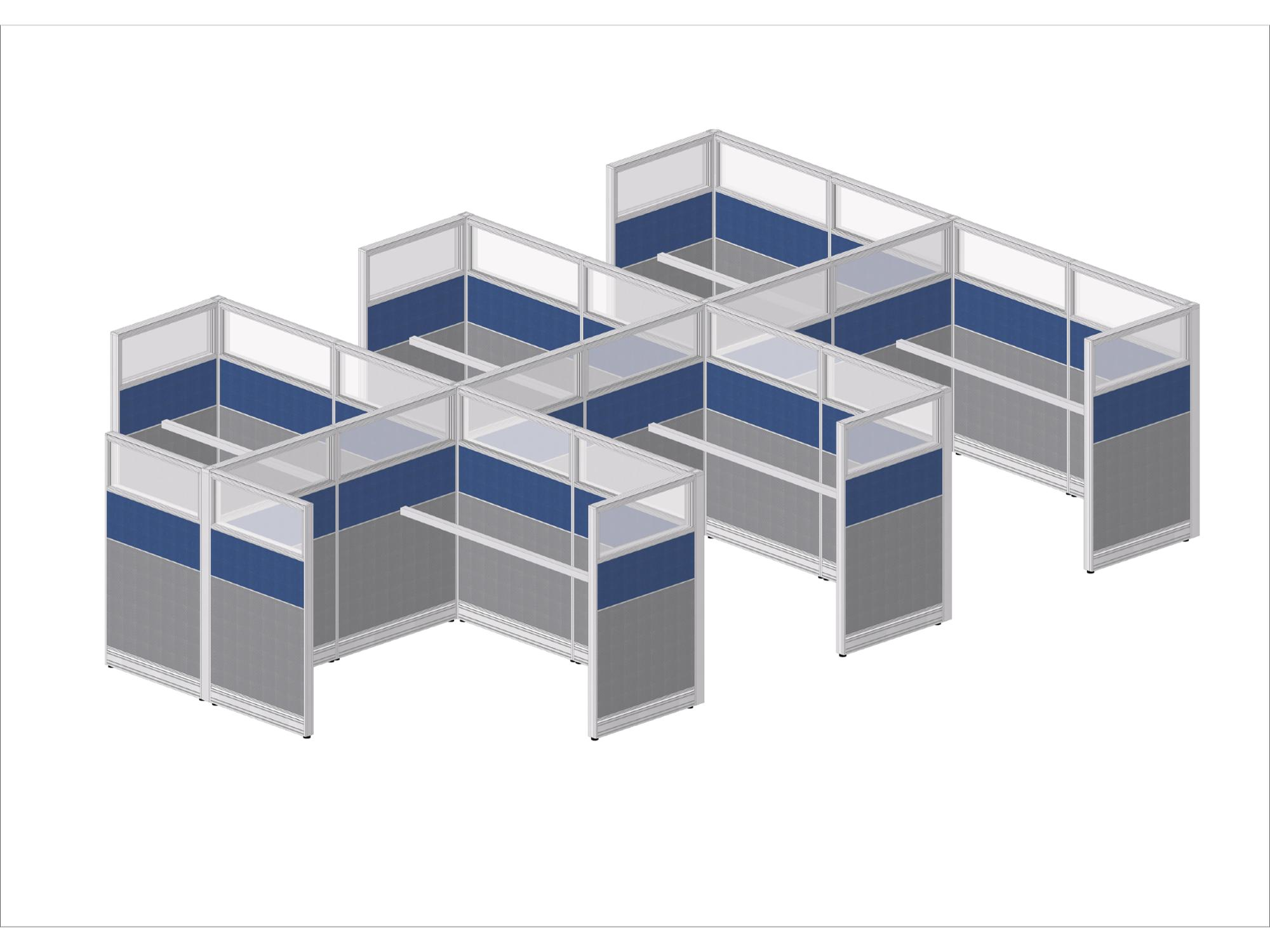 Directly factory price modern office furniture aluminum frame glass partition 6 person cluster workstation