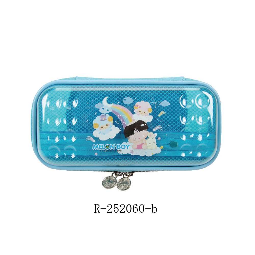 Cute translucent durable plastic clear pencil case /custom design stationery containers for kids
