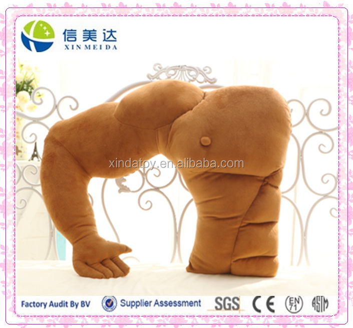 Novelty brown muscle male body plush pillow/ boy friend soft warm creative pillow
